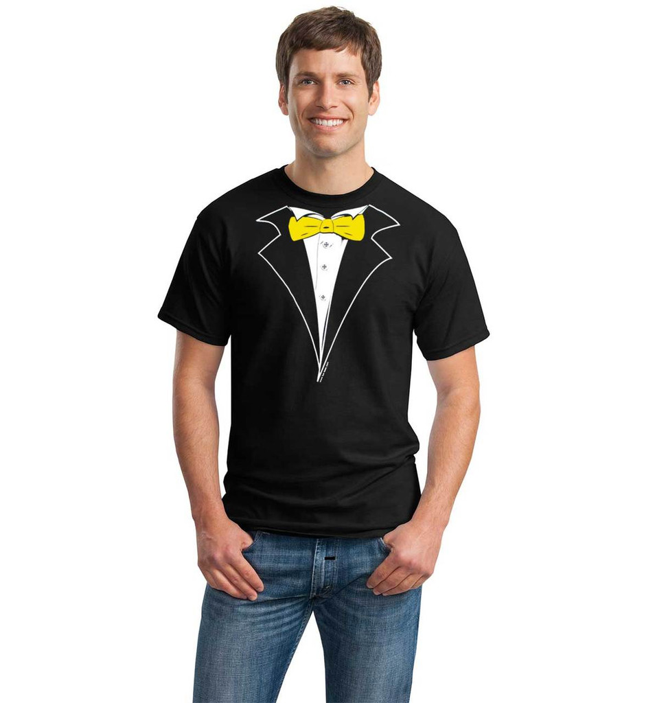 Tuxedo T-Shirt in Black with Yellow Gold Tie