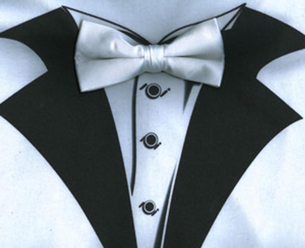 White Tuxedo T-Shirt with Real White Bow Tie