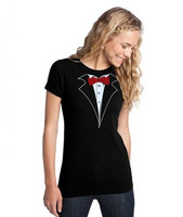 Junior/Missy Tuxedo T-shirt with Red Tie