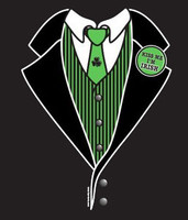 Irish Tuxedo T-Shirt with printed Kiss Me Button