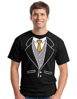 Gold Finger - Tuxedo Tee with a Sparkle Gold Tie