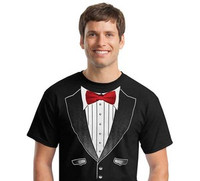 Original Tuxedo T-Shirt in Black with Real Red Bow Tie