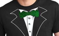Green Glitter Tie Tuxedo T-Shirt