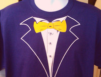 Purple Tuxedo T-shirt in a Classic Style with Yellow Gold Tie