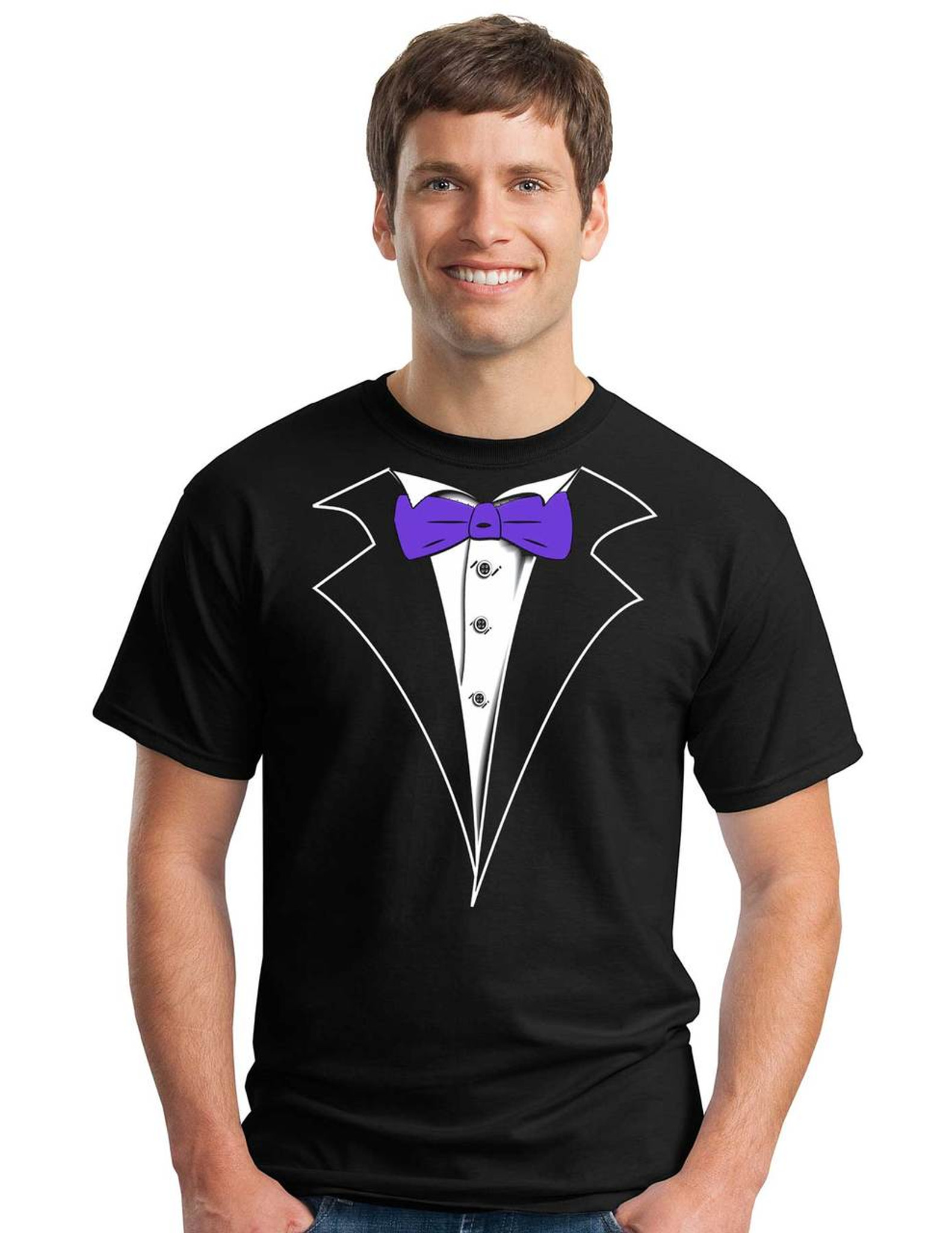 Classic tuxedo t shirt in black with purple bow tie shop for Black shirt black tie