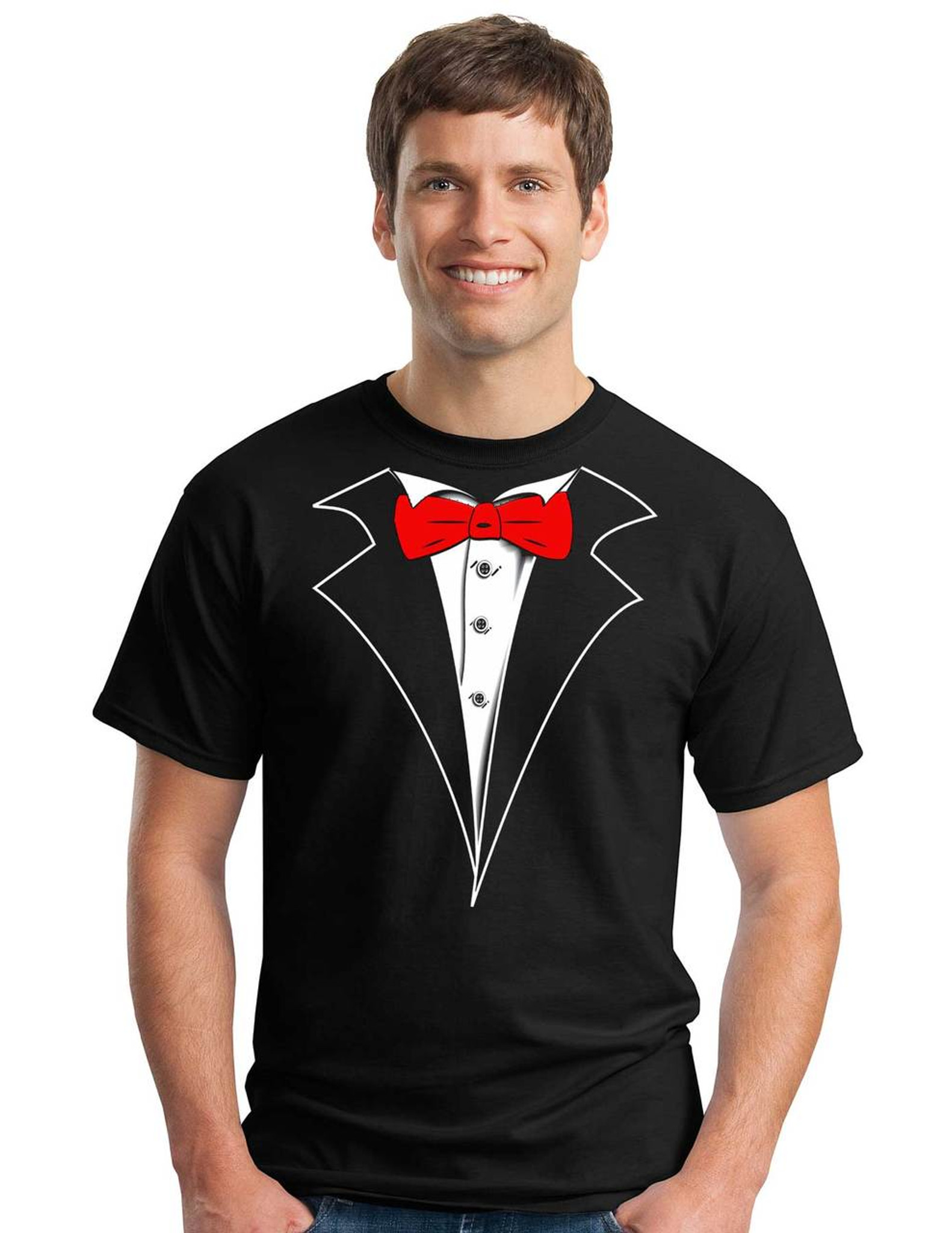 Tuxedo T Shirt With Red Bow Tie On Black No Carnation
