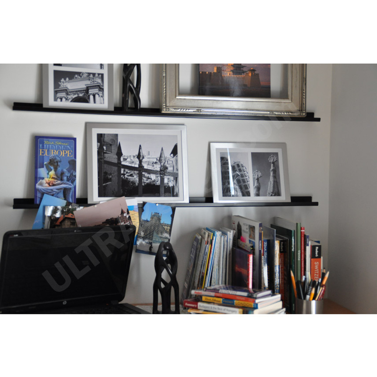 3ft Black Ledges With Book And Frames