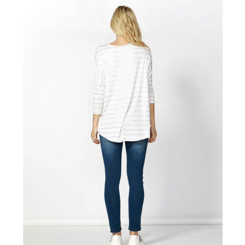 Milan 3/4 Sleeve Top SP18 in White/Rose Gold Stripe by BETTY BASICS*