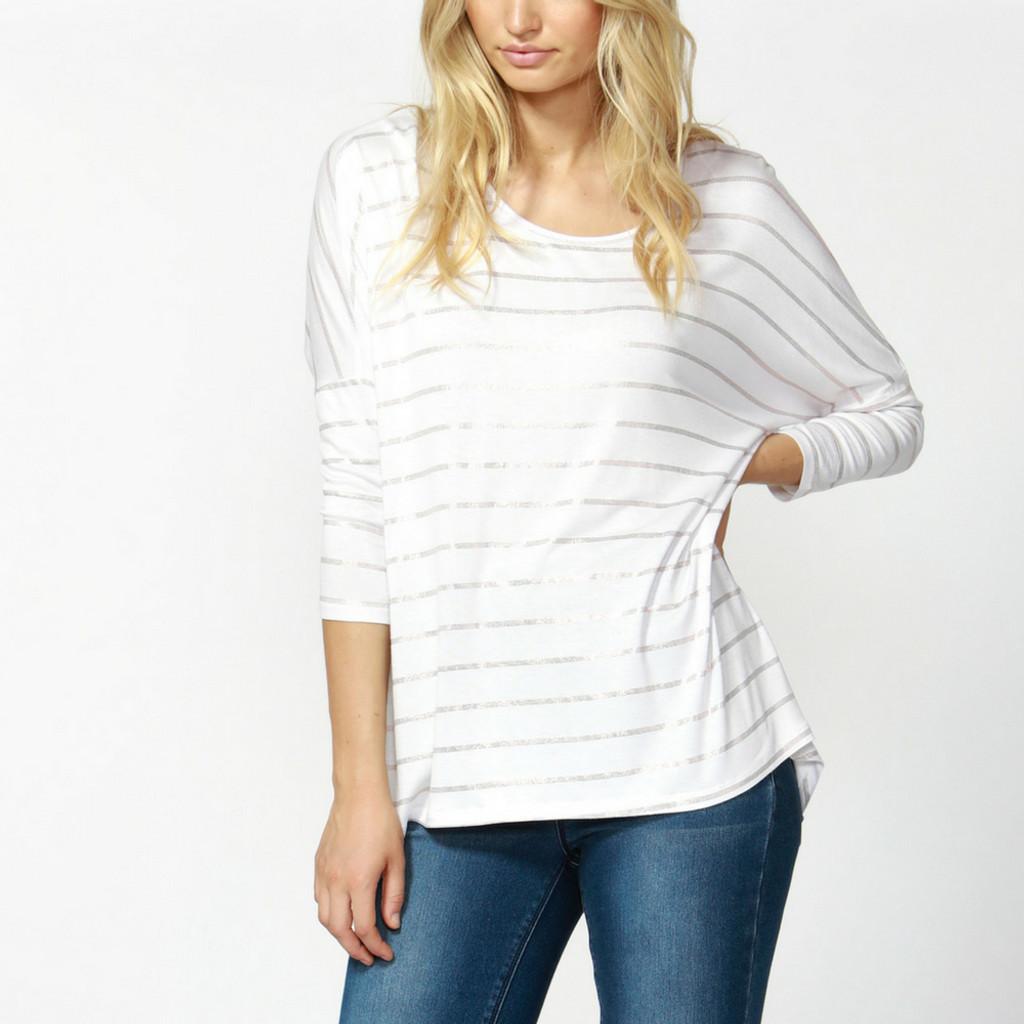 Women's Tops | Milan 3/4 Sleeve Top SP18 in White/Rose Gold Stripe | BETTY BASICS