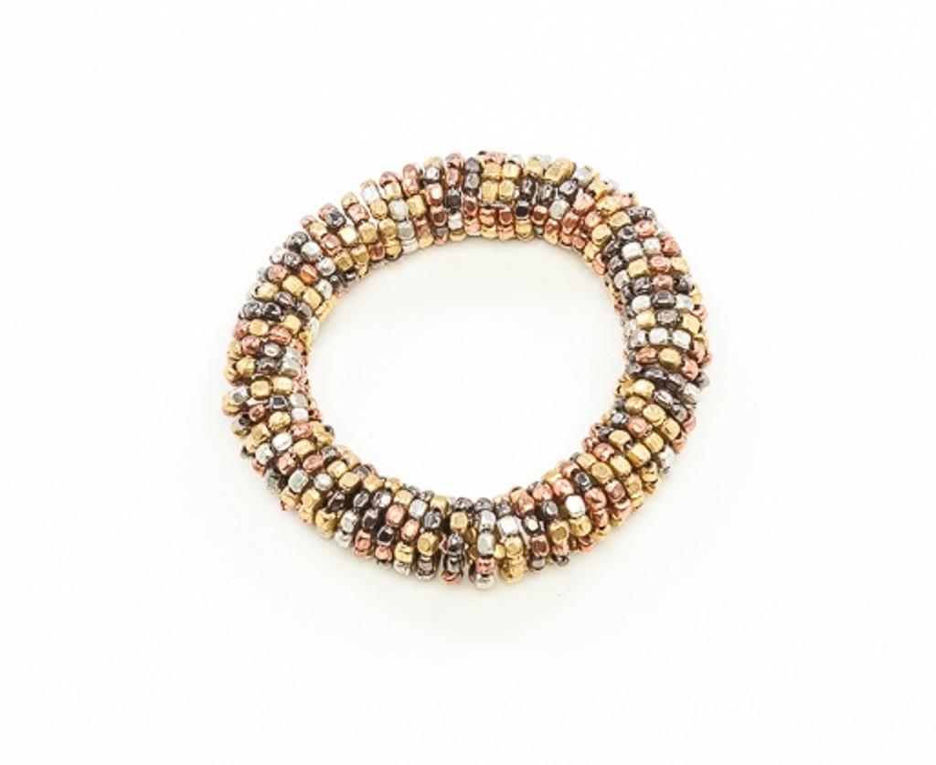 Women's Jewellery | FB2264 - 4 TONE METALLIC STRETCHY COIL BEADED BRACELET | FAB