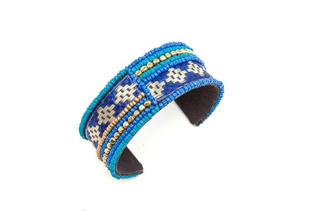 Women's Jewellery | FB2300 - FABRIC CUFF WITH BEADED AND WOVEN FABRIC FEATURE | FAB