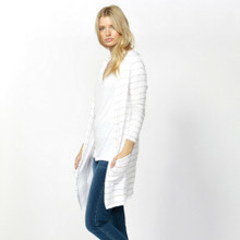 Women's Knitwear | Berlin Cardi in White/Rose Gold Stripe | BETTY BASICS