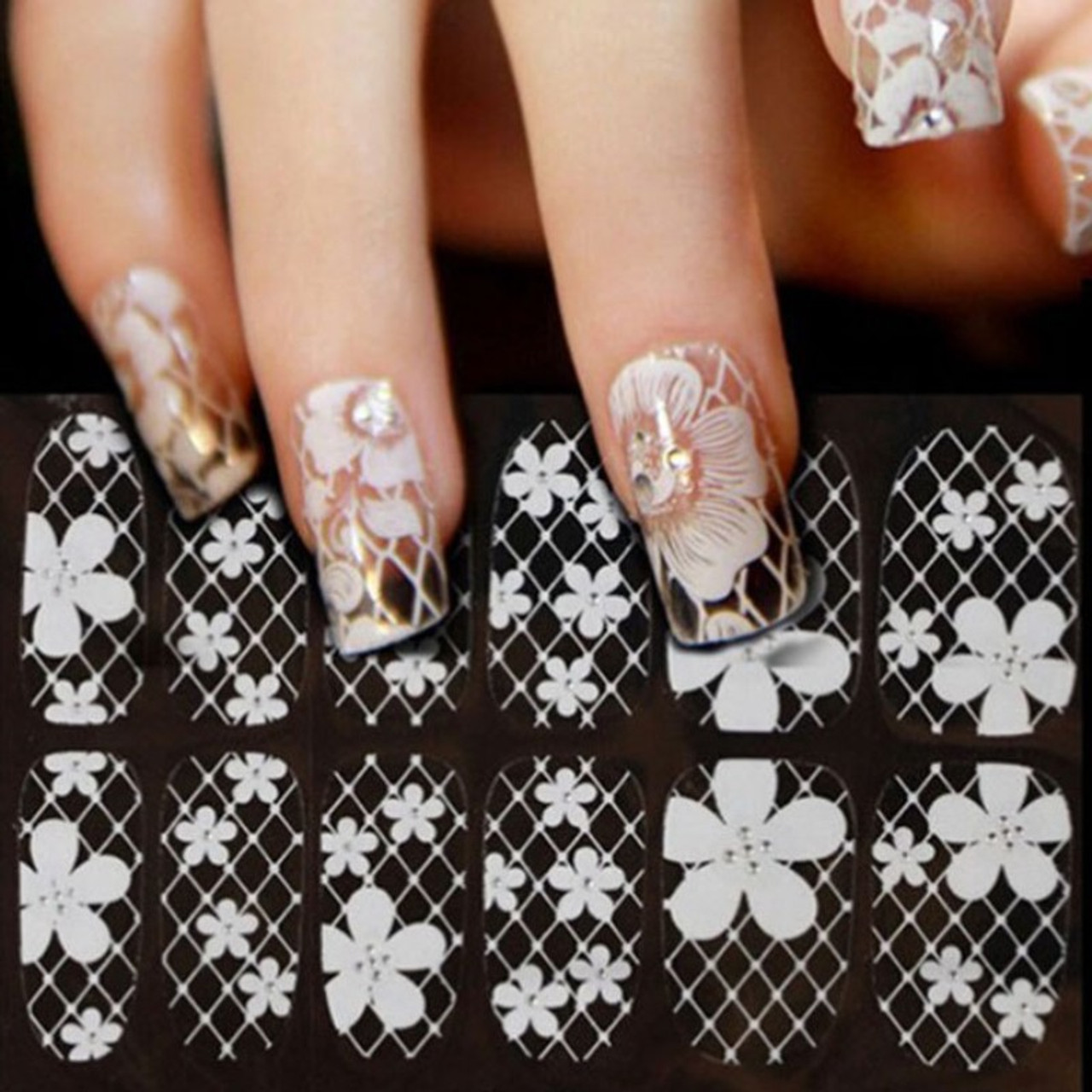 Transparent White Lace Nail Stickers
