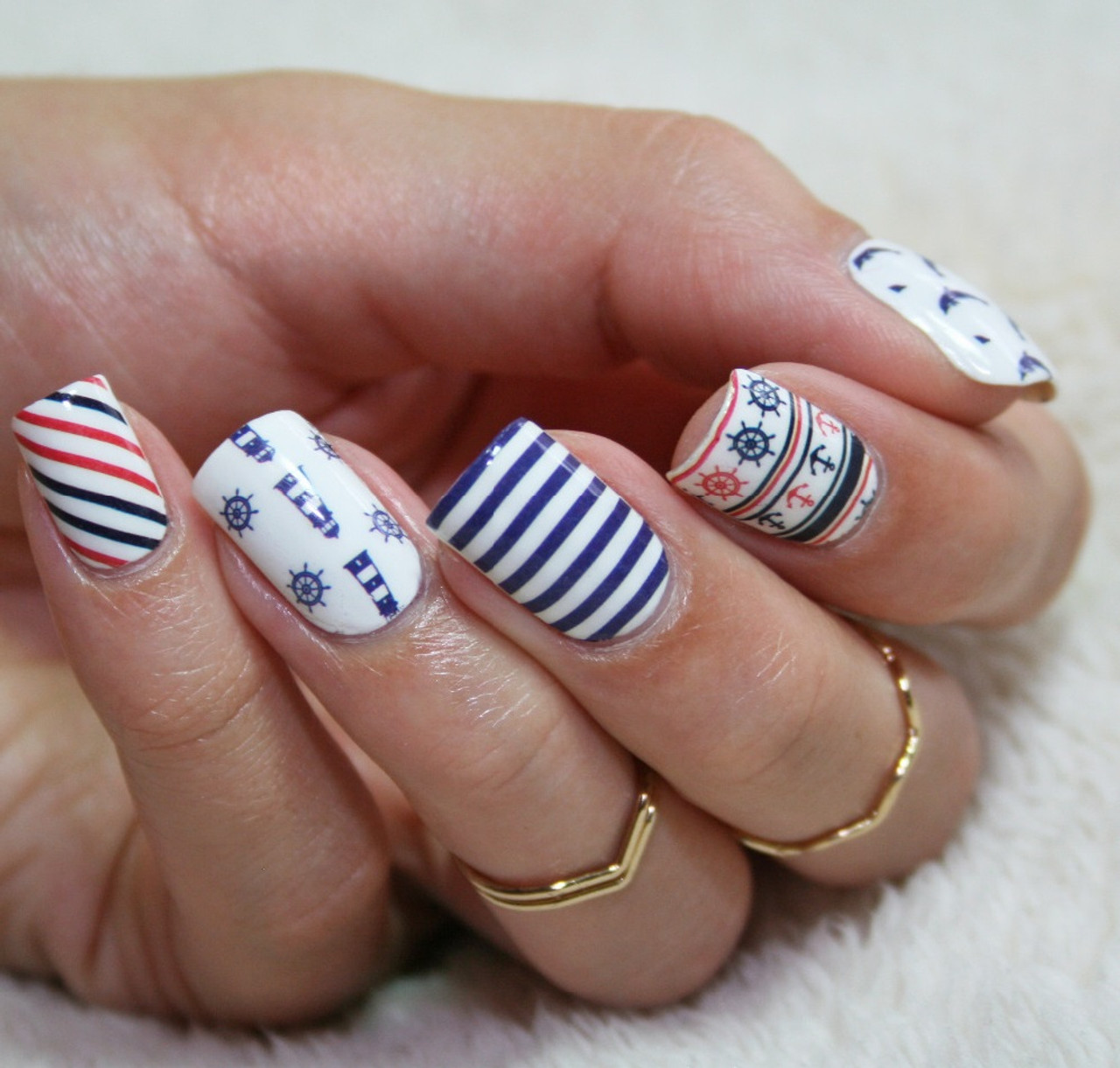 Anchor Stripe Nail Art Decal Stickers - Fashion Mouse