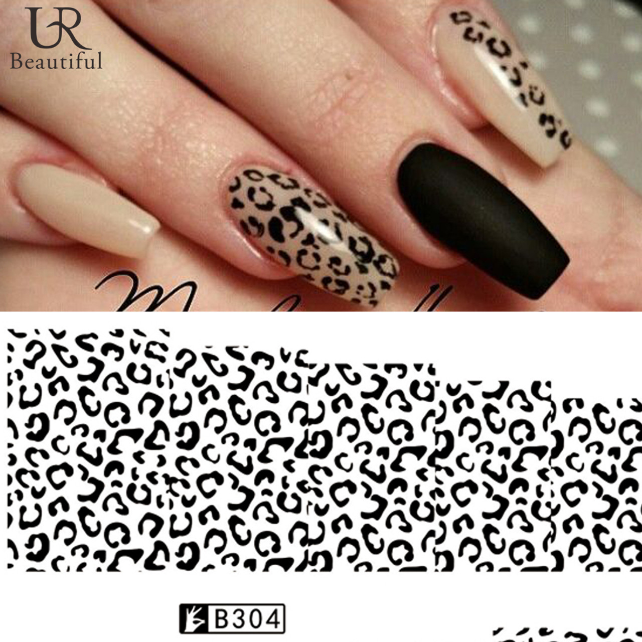 Black/White Leopard Nail Art Decal Stickers - Fashion Mouse