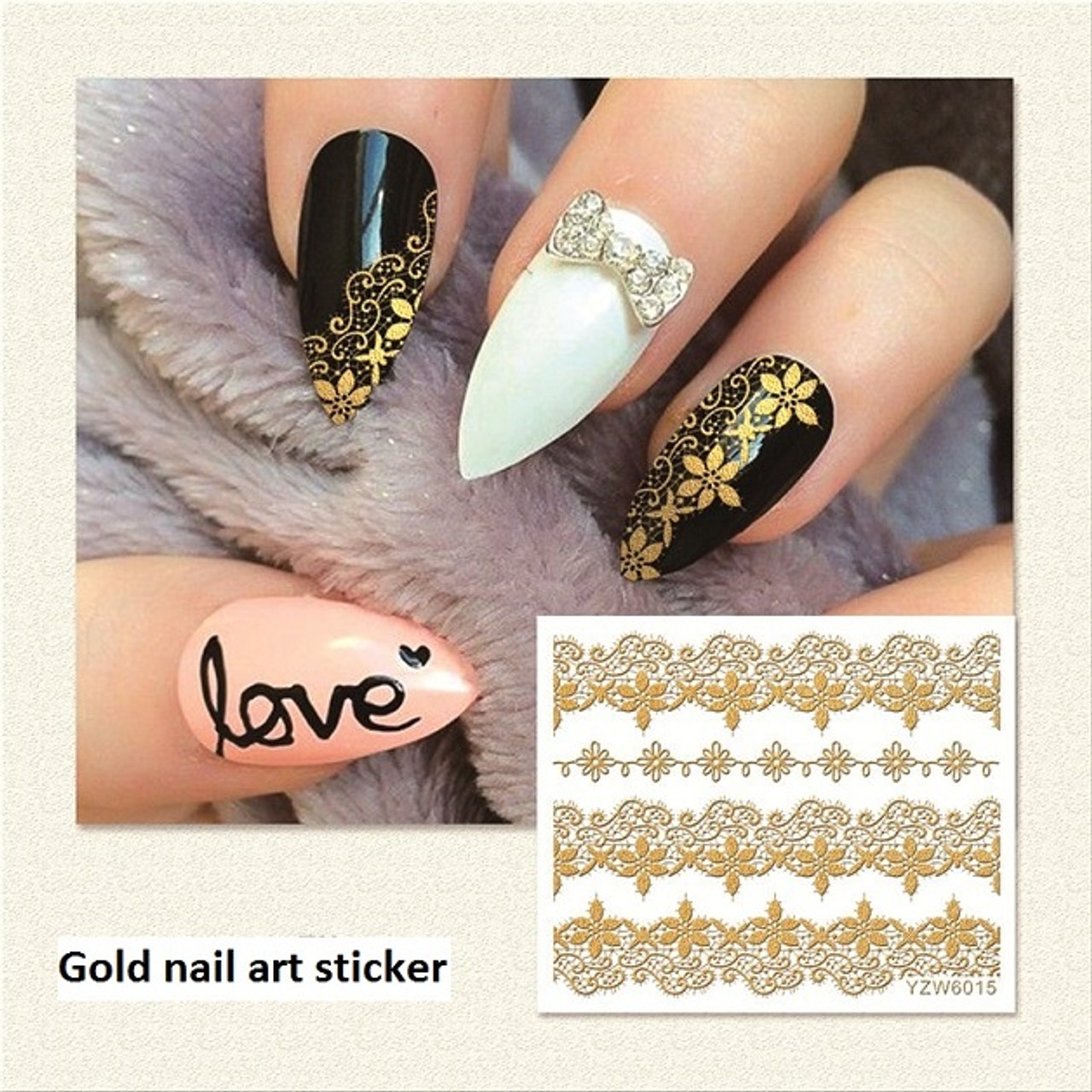 3D Gold Nail Art Decal Stickers - Fashion Mouse