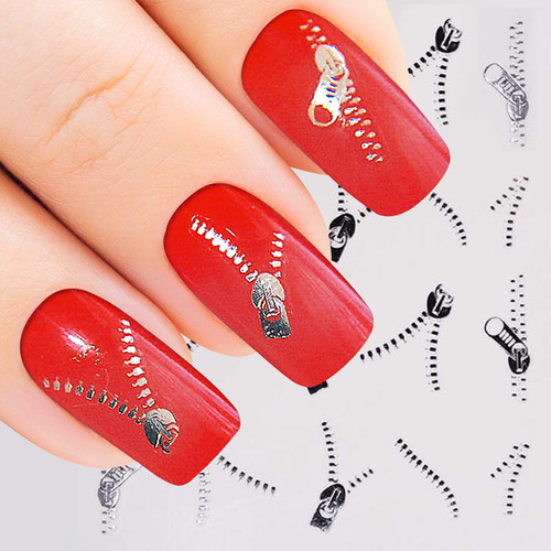 Silver Zip Design Nail Sticker ...
