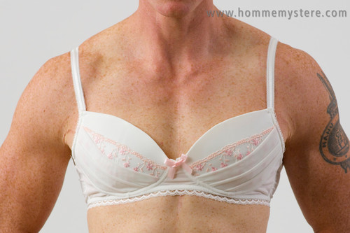Lovely Anneve bra with padded cups moulded to fit a guys chest.