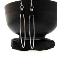 Sleek Sterling and Black Leather Earrings