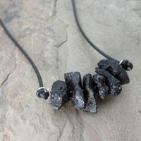 Black Tektite and Leather Necklace