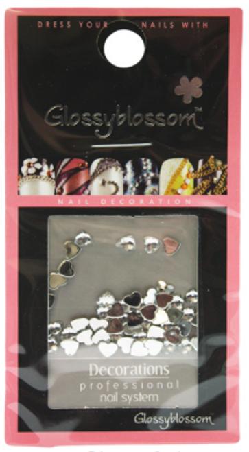 Glossy Blossom Rhinestone Nail Art Hearts 4mm