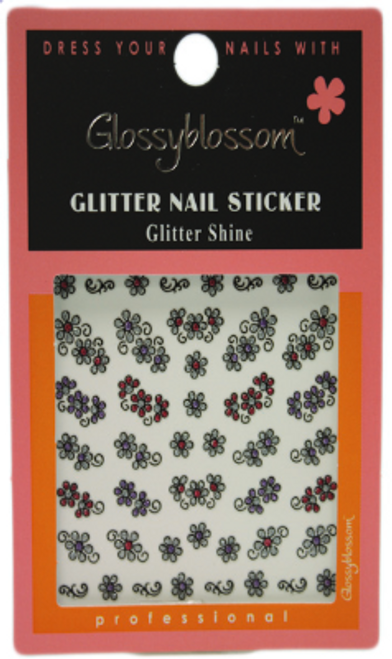 Glossy Blossom Flower Park 11 Glitter Nail Art Stickers