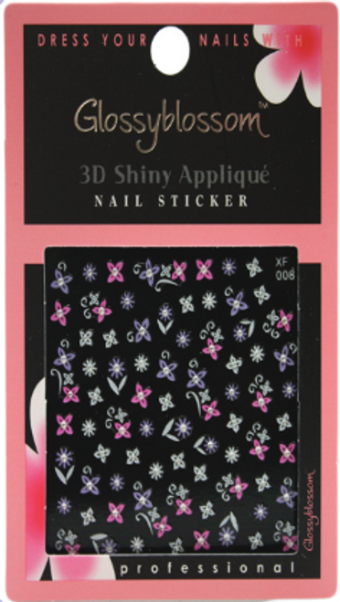 Glossy Blossom Pink & Violet 3D Flower Nail Art Stickers