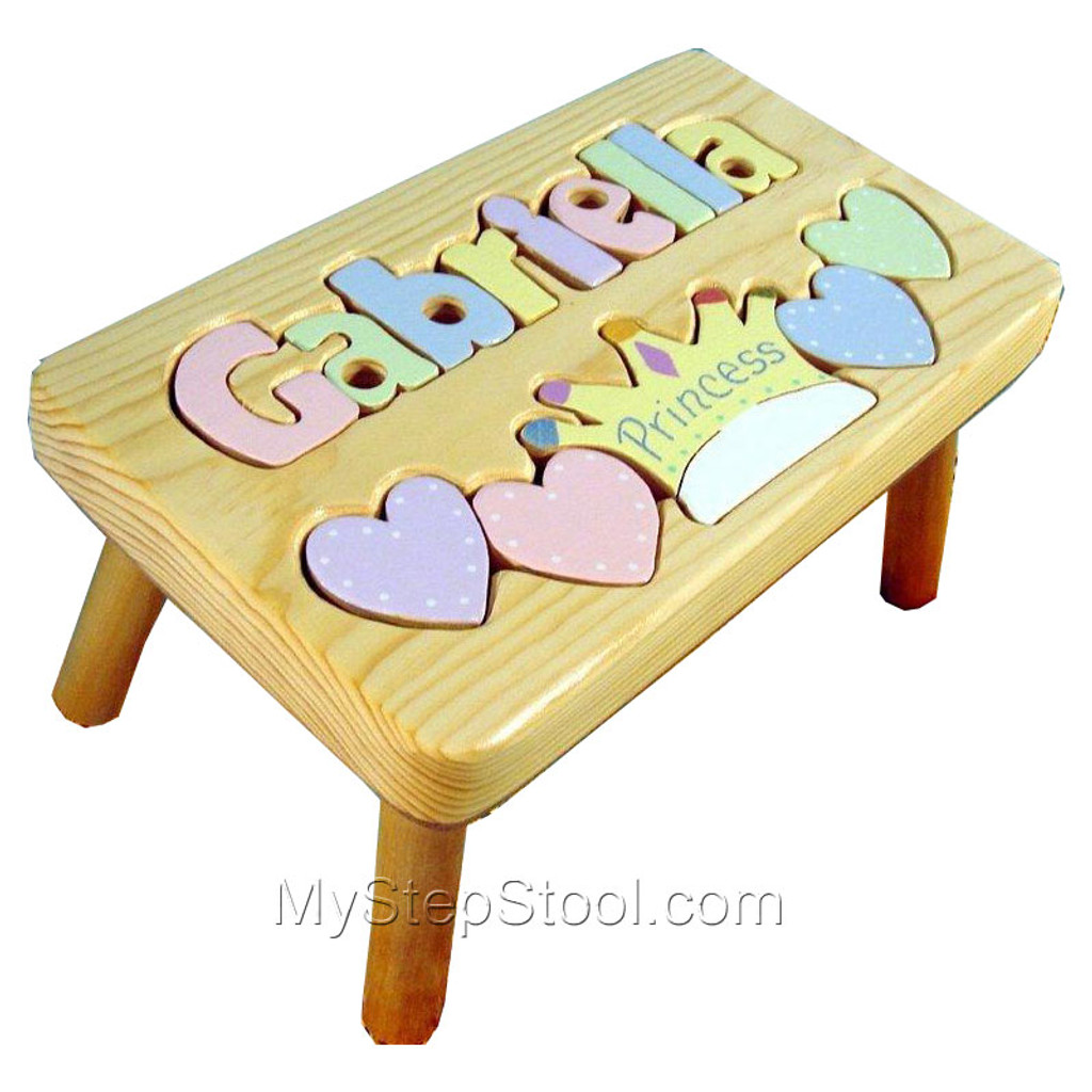 Princess puzzle name step stool for kids natural princess puzzle stool with pastel letters negle Gallery