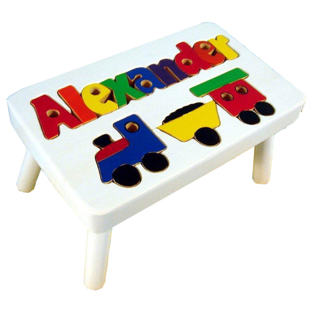 Train Puzzle Name Step Stool For Kids