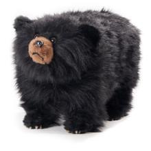 shaggy black bear footrest