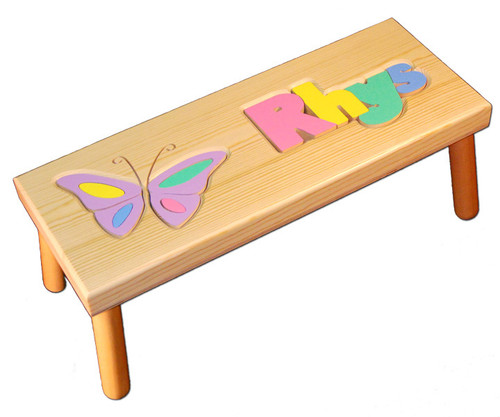 Puzzle Name Stool With Birth Date