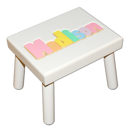 White Puzzle Step Stool For Kids