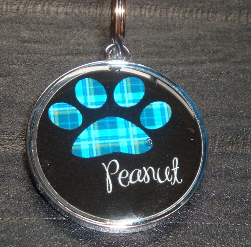 Retro Blue Plaid Pawprint Name Pet ID Tag