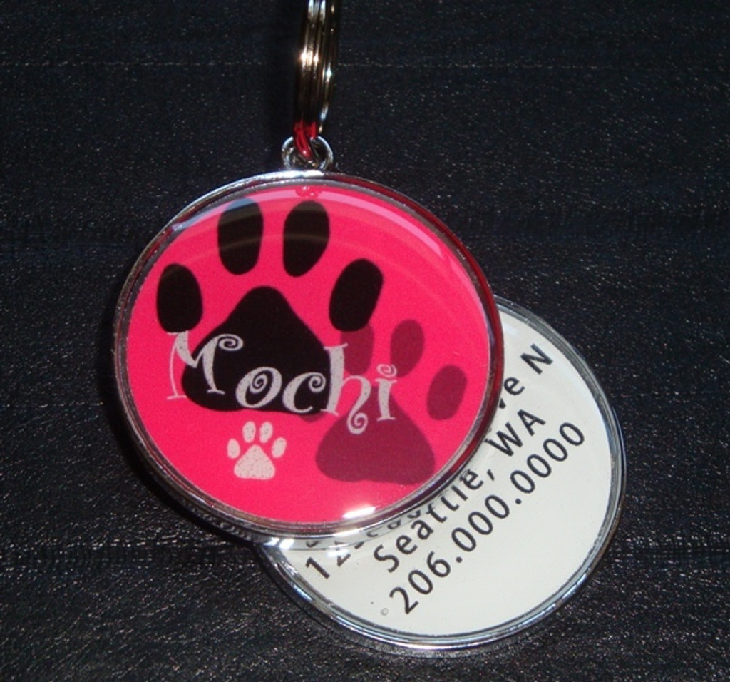 Pawprint Name Pink Pet ID Tag