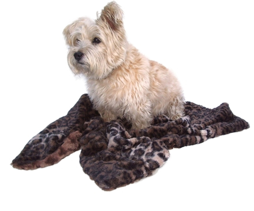 Dark Brown Leopard Minkie Binkie Blanket