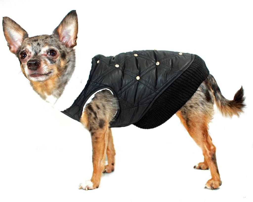 Black HD Rhinestone Puffer Vest