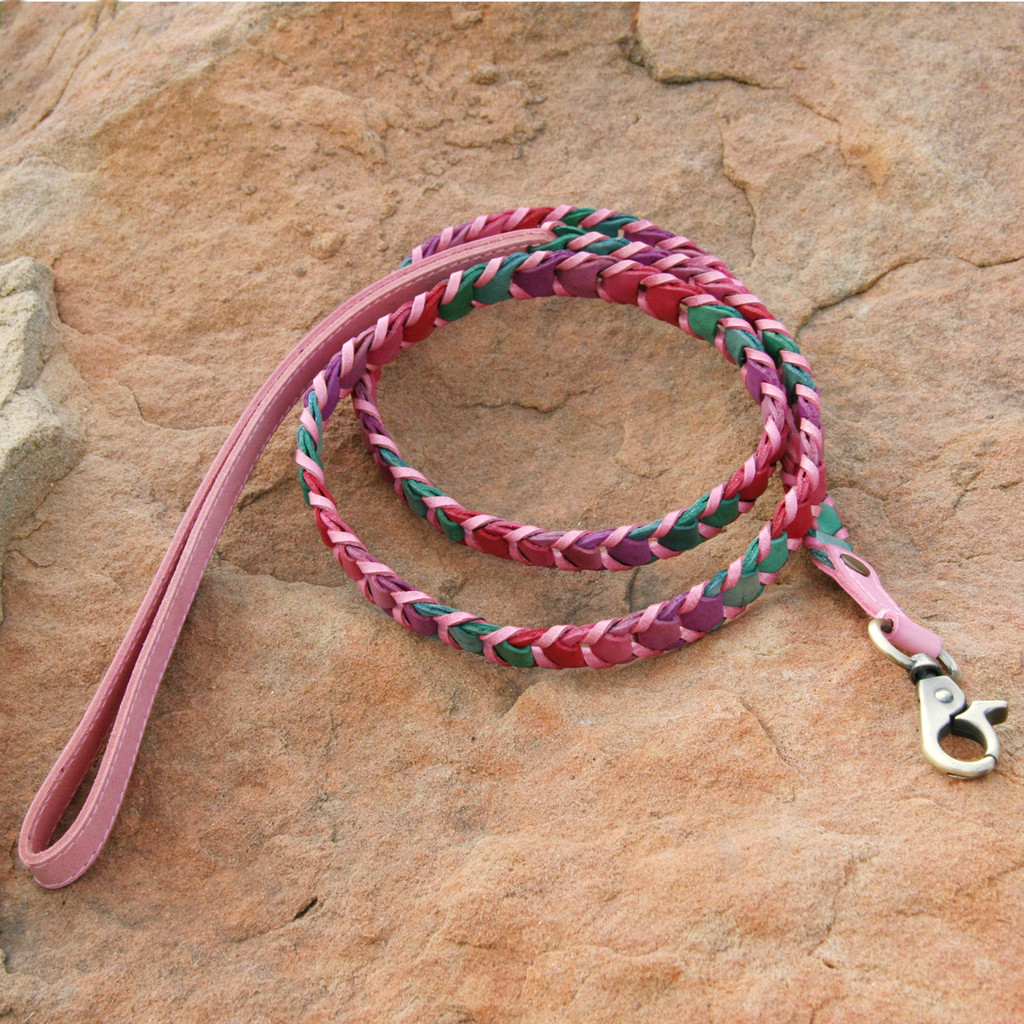 Multicolor Pink Leather Leash