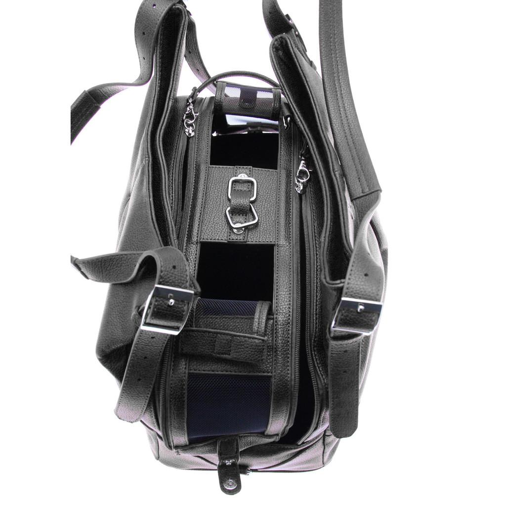 Sadie Mia Michele Black Faux Pebble Leather Carry Bag