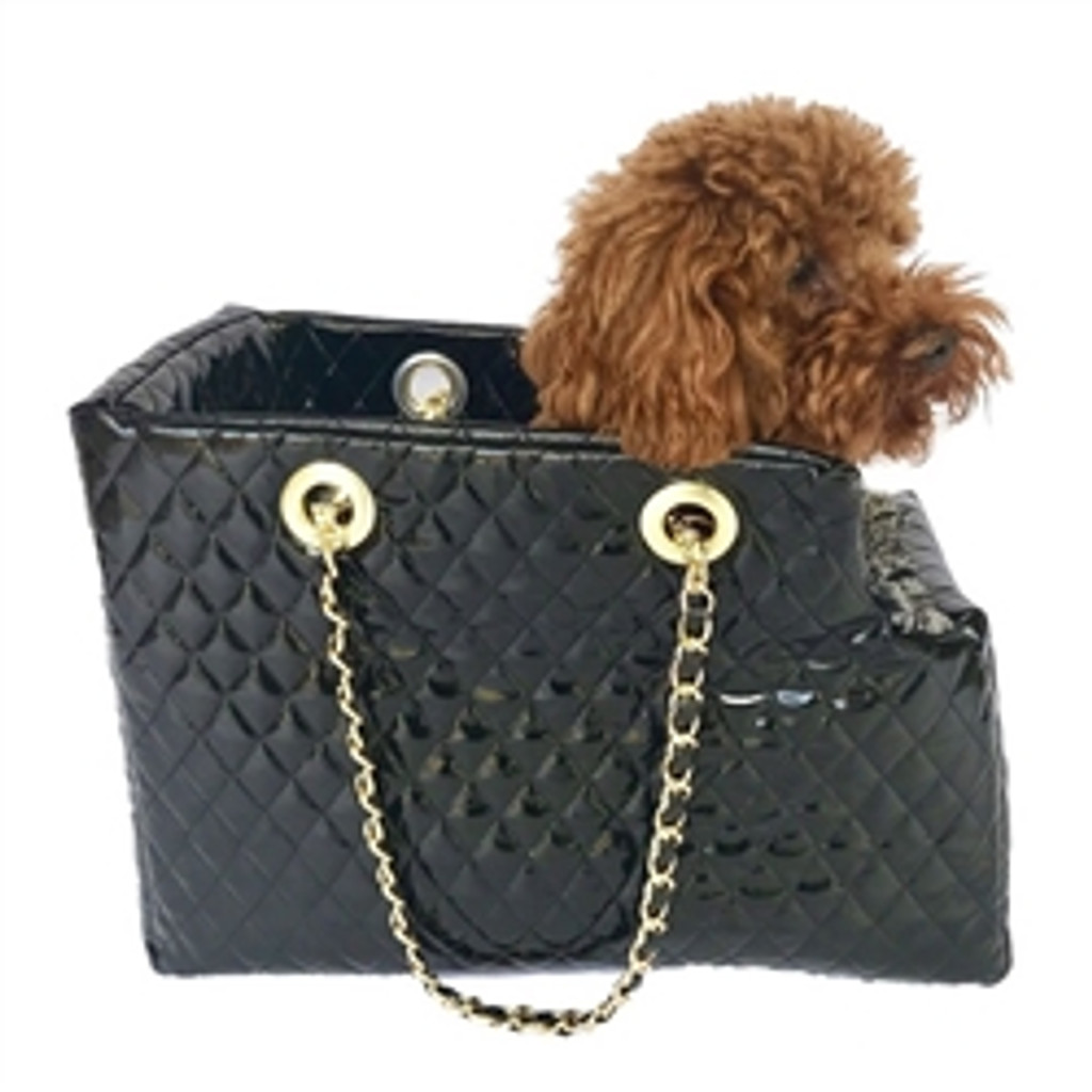 Kate Carrier in Quilted Black Patent with Chain Straps