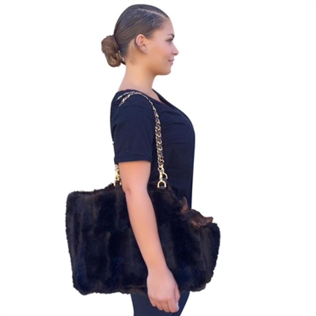 Stella Brown Mink Carrier with Chain Straps