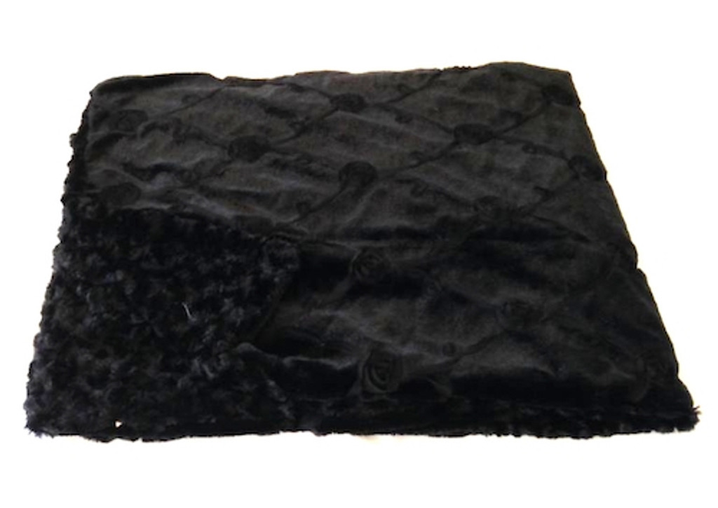 Reversible Black Roses Luxurious Fur Throw