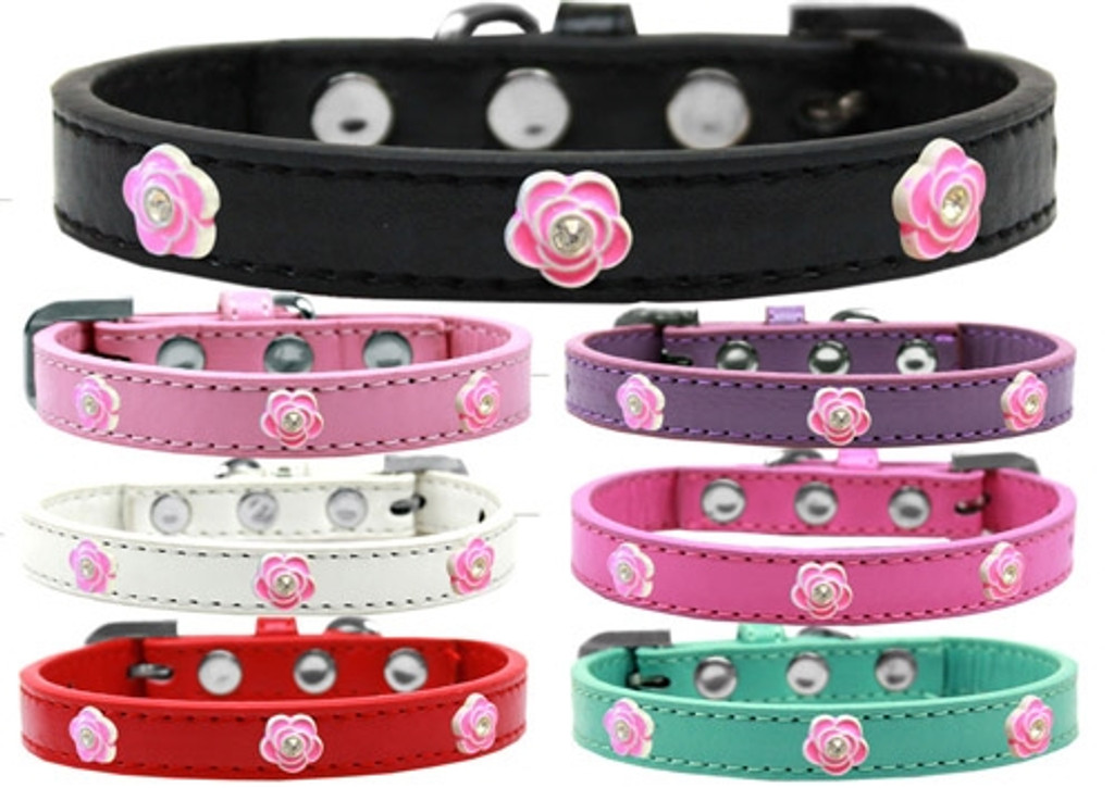 Bright Pink Rose Widget Dog Collar