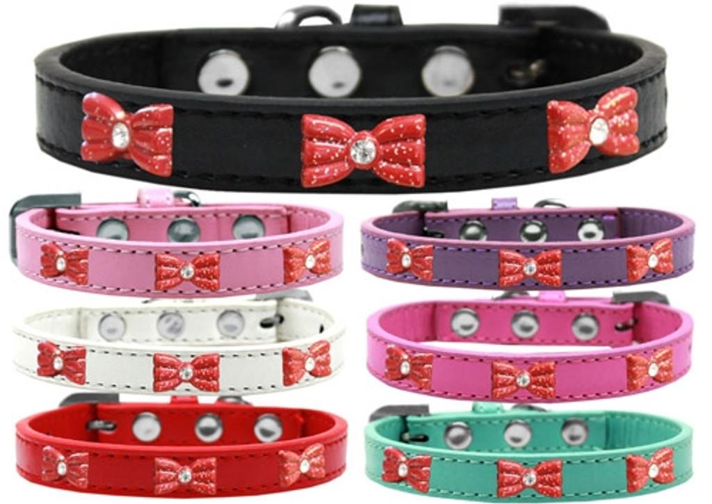 Pink Glitter Bow Widget Dog Collar