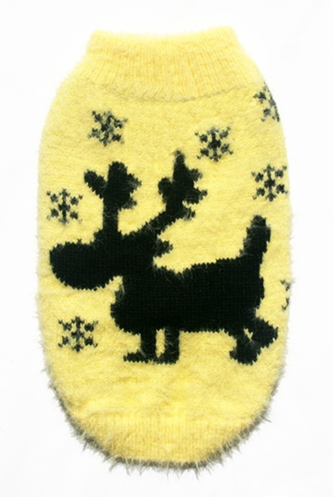 Feathersoft Yellow Moose Sweater Dog Sweater