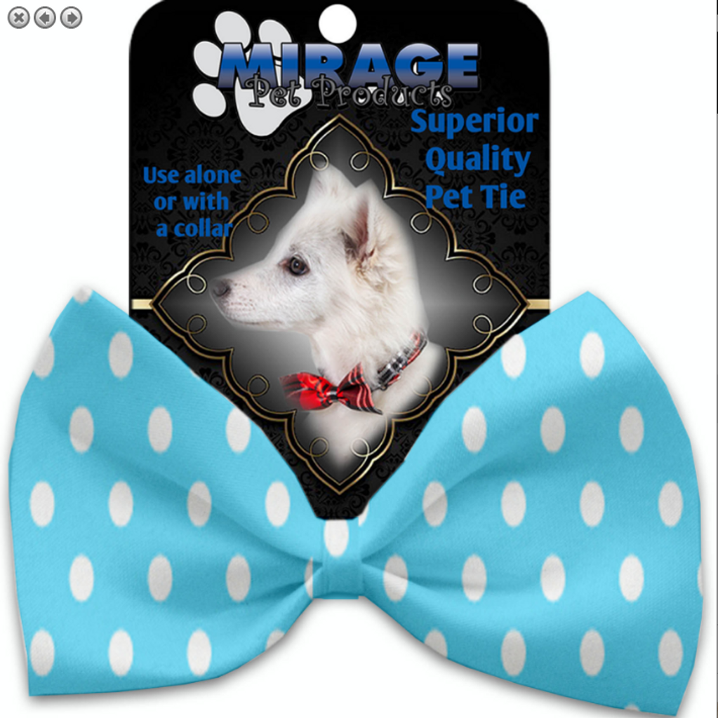 Aqua Polka Dots Pet Bow Tie