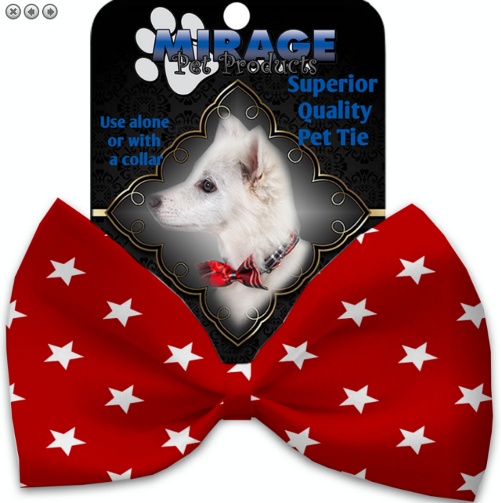 Red Stars Pet Bow Tie