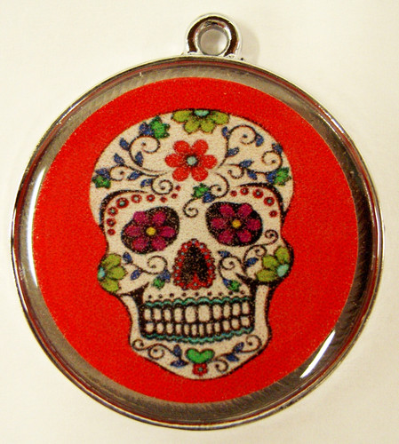 Floral Skull Red Pet ID Tag
