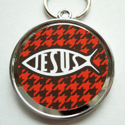 Jesus Fish Red Pet ID Tag