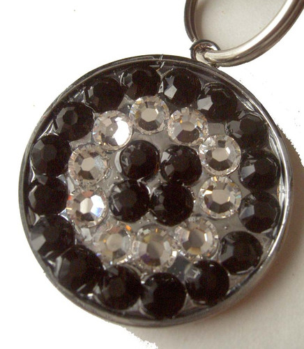 Jet and Clear Rhinestone Pet ID Tag