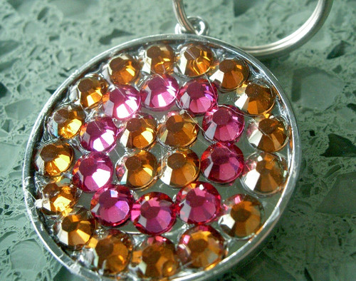 Copper and Pink Rhinestone Pet ID Tag